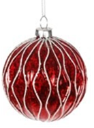 Jingles 8cm Red Christmas Tree Bauble with White Glitter