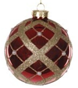 Jingles 8cm Red Christmas Tree Bauble with Gold Pearls