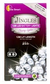 Jingles 120 LED Chasing Christmas Lights - White / Battery Op
