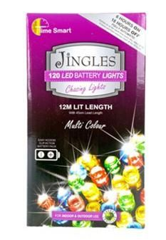 Jingles 120 LED Chasing Christmas Lights - Multi Colour / Battery Op