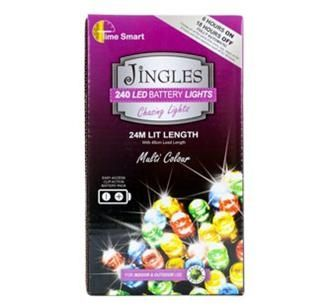 Jingles 240 LED Chasing Christmas Lights - Multi Colour / Battery Op