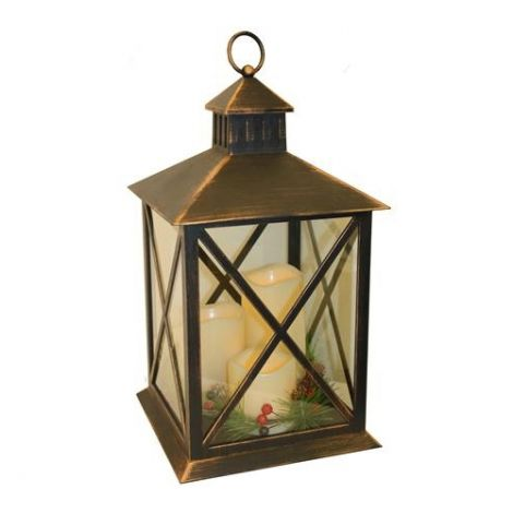 Enchante Victorian Christmas Lantern with Time Control Candles