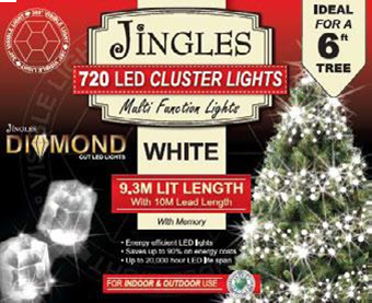 Jingles LED Diamond Cluster Christmas Lights - White / 720L