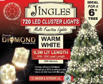 Jingles LED Diamond Cluster Christmas Lights - Warm White / 720L