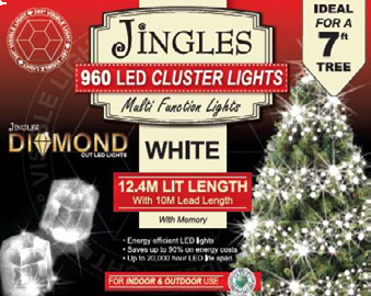 Jingles LED Diamond Cluster Christmas Lights - White / 960L