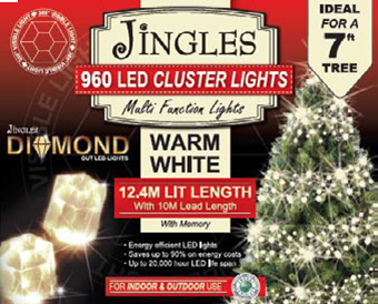 Jingles LED Diamond Cluster Christmas Lights - Warm White / 960L