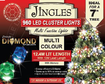 Jingles LED Diamond Cluster Christmas Lights - Multi Colour / 960L