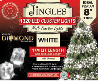 Jingles LED Diamond Cluster Christmas Lights - White / 1320L