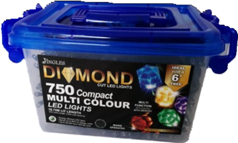 Jingles Diamond LED Christmas Lights - White / 750L