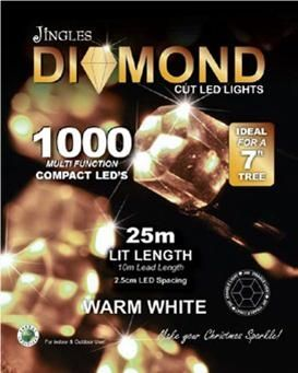 Jingles 1500 LED Diamond Compact Christmas Tree Lights - Warm White