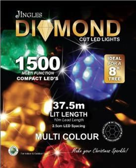 Jingles 1500 LED Diamond Compact Christmas Tree Lights - Multi Colour