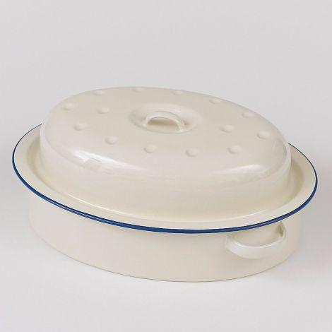 Victor Large Enamel Oval Roaster Blue Rim 38cm