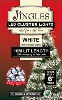Jingles LED Cluster Lights for 6ft Christmas Tree - White