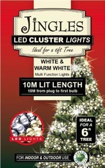 Jingles LED Cluster Lights for 6ft Christmas Tree - Warm White
