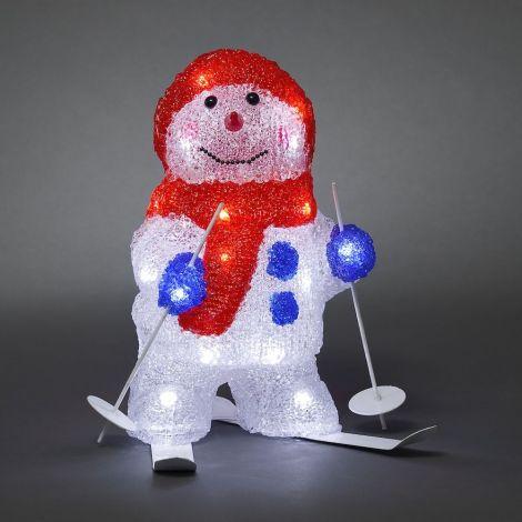 Konst Smide LED Acrylic Christmas Skiing Snowman  28cm