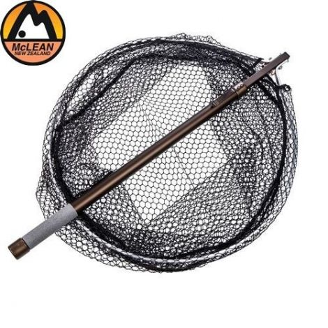 McLean R521 Round Head Telescopic Landing Net Large (20'' Frame) - Rubber Mesh