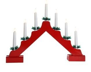 Jingles 7 Light Natural Christmas Candlebridge - Red - Battery Operated