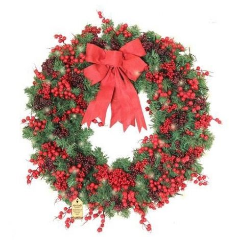 """Enchante Woodland Berry XL 40"""" Christmas Wreath with Lights"""