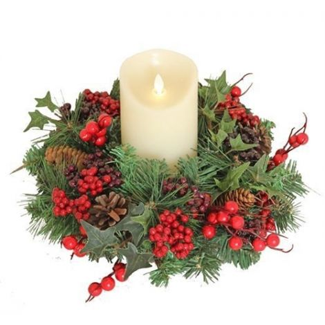 Enchante Christmas Woodland Berry Candle Wreath (Candle Not Included)