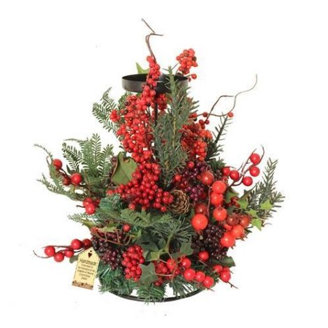 Enchante Woodland Berry Christmas Candle Holder 40cm
