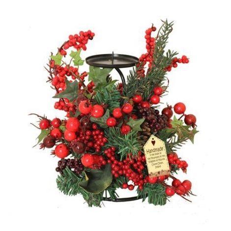 Enchante Woodland Berry Christmas Candle Holder 30cm