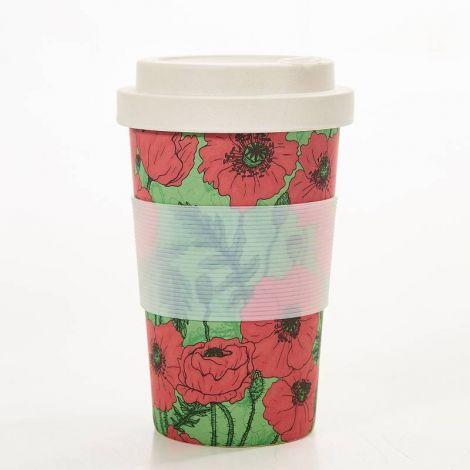 Eco Chic Green Poppies Coffee Mug
