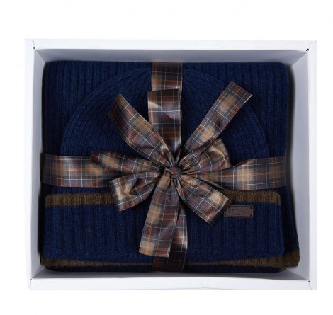 Barbour Cromer Beanie and Scarf Gift Set