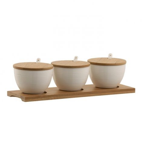 Belleek Living Ripple Three Set of Bowls with Tray