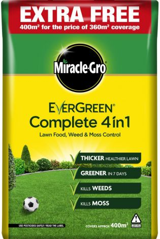 Miracle Gro Evergreen Complete 4 in 1 Lawn Food, Weed & Moss Control Feed - 400sqm