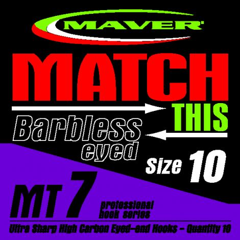 Maver Match This Hooks - MT 7 - Barbless Eyed