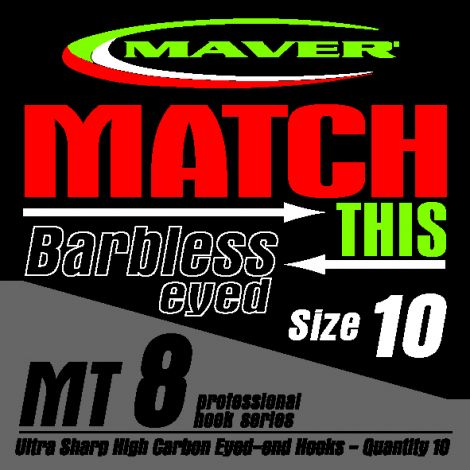 Maver Match This Hooks - MT 8 - Barbless Eyed