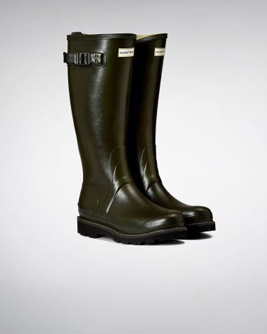 Hunter Womens Balmoral Poly-Lined Wellington Boots - Dark Olive